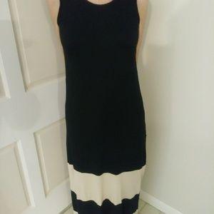 Black and tan midi slip on dress.